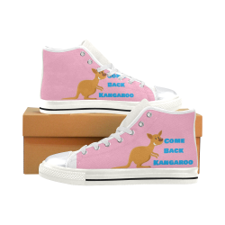 pink Kangaroo blue words shoes High Top Canvas Shoes for Kid (Model 017)