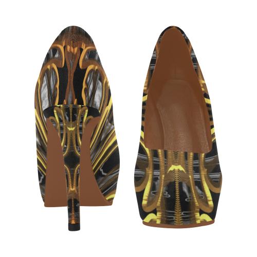 Golden Deep Flower Step Crew Women's High Heels (Model 044)