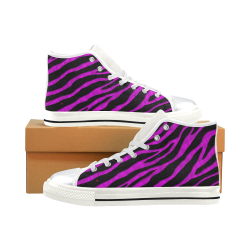 Ripped SpaceTime Stripes - Pink High Top Canvas Women's Shoes/Large Size (Model 017)