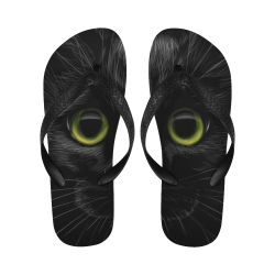 Black Cat Flip Flops for Men/Women (Model 040)