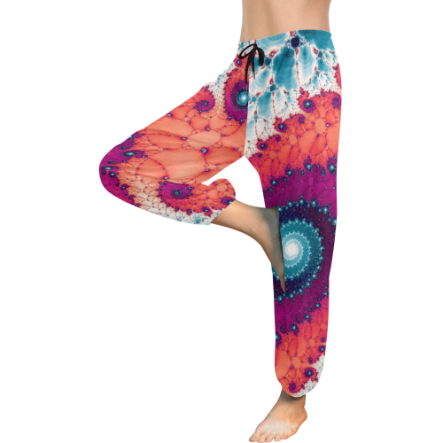 Soft Petals Glass Flower Spiral Women's All Over Print Harem Pants (Model L18)
