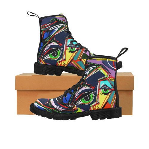 Human Face Art Martin Boots for Women (Black) (Model 1203H)
