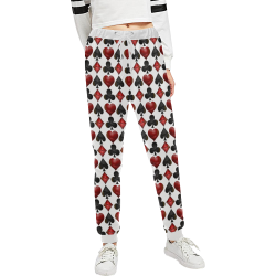 Las Vegas Black and Red Casino Poker Card Shapes on White Unisex All Over Print Sweatpants (Model L11)