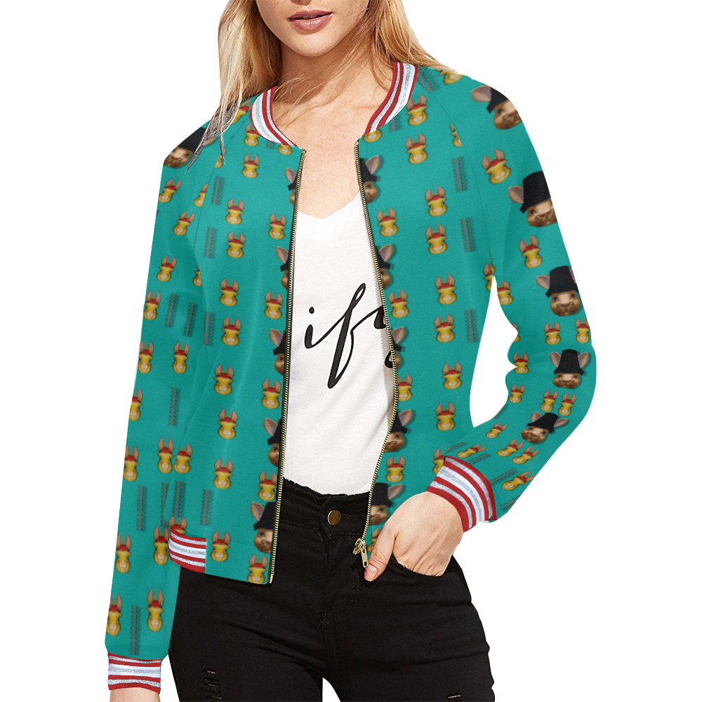 Happy rabbits in the green free grass All Over Print Bomber Jacket for Women (Model H21)