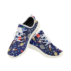 Galaxy Universe - Planets,Stars,Comets,Rockets (White Laces) Grus Women's Breathable Woven Running Shoes (Model 022)