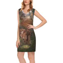 Awesome wolf in the night Phoebe Sleeveless V-Neck Dress (Model D09)