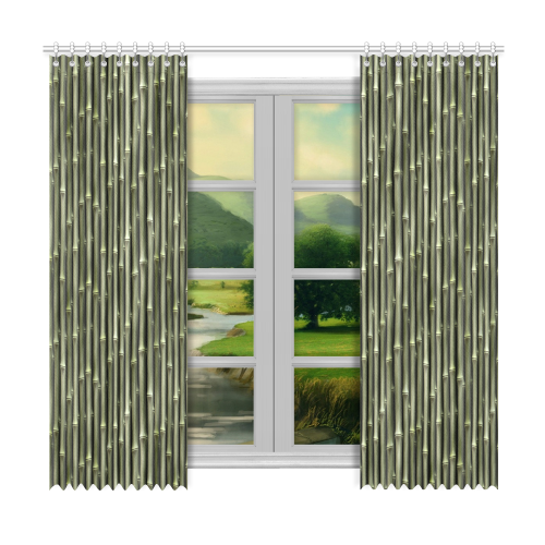 """Bamboo forest Window Curtain 50""""x96""""(Two Piece)"""