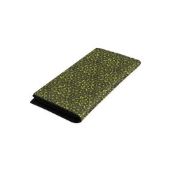 Green vintage pattern on a black background Women's Leather Wallet (Model 1611)