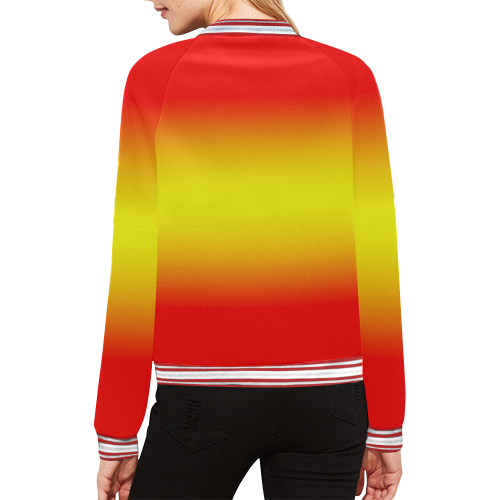 Red Yellow Red All Over Print Bomber Jacket for Women (Model H21)