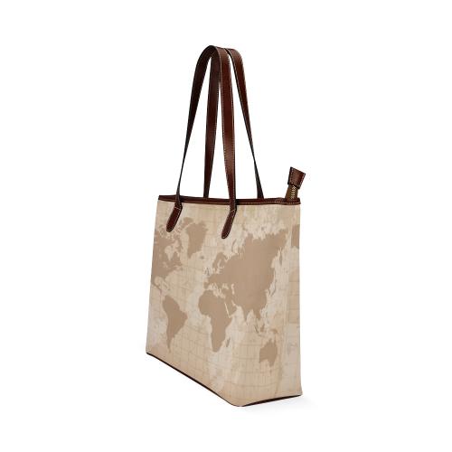 World Map Shoulder Tote Bag (Model 1646)