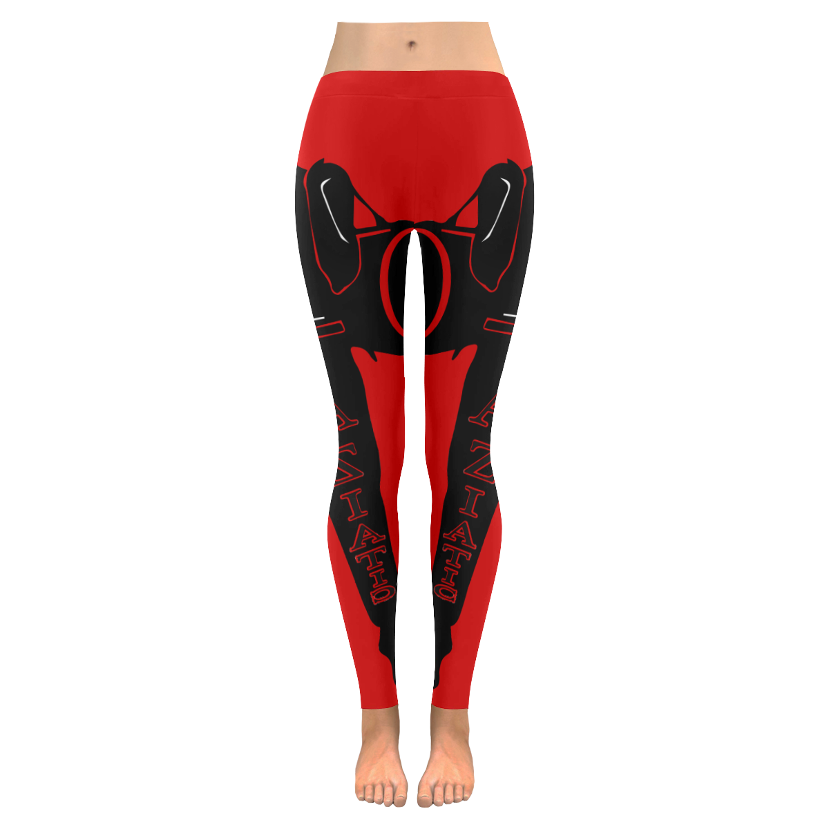 Aziatic Red & Black Low Rise Leggings (Invisible Stitch) (Model L05)