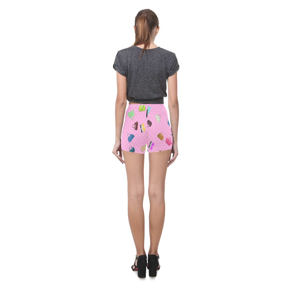 Little Purses and Pink Polka Dots Briseis Skinny Shorts (Model L04)