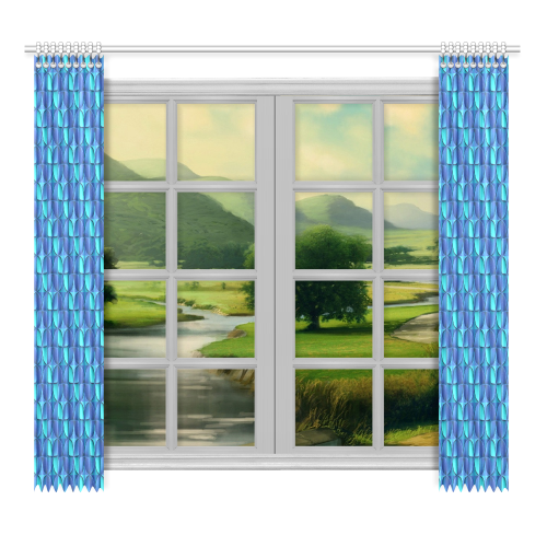 """Blue shades abstract Window Curtain 52""""x96""""(Two Piece)"""