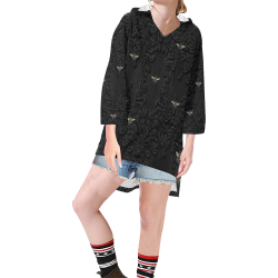 Black Lace and Bees Step Hem Tunic Hoodie for Women (Model H25)