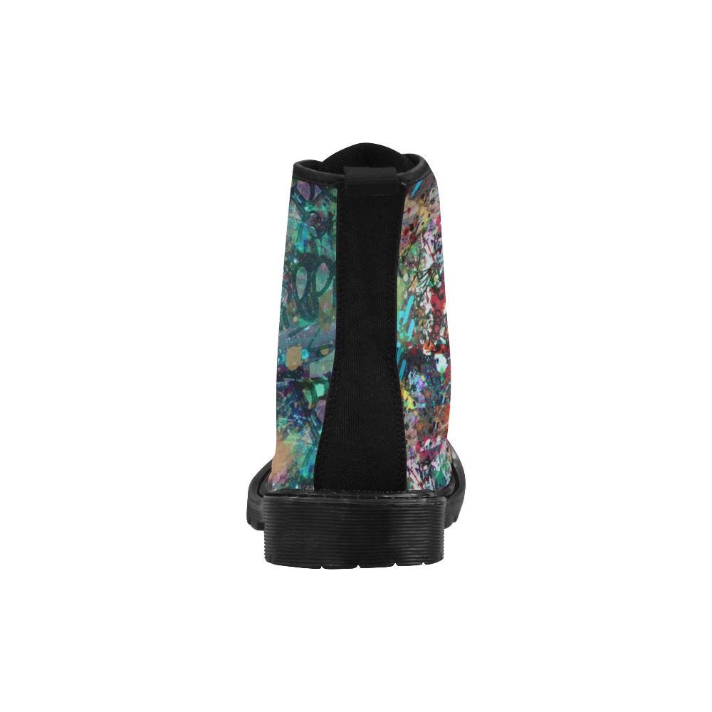 Graffiti Wall and Paint Splatter Martin Boots for Women (Black) (Model 1203H)