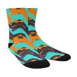 Blue orange black waves Crew Socks