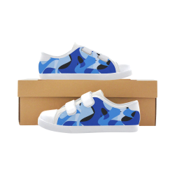 Camouflage Abstract Blue and Black Velcro Canvas Kid's Shoes (Model 008)