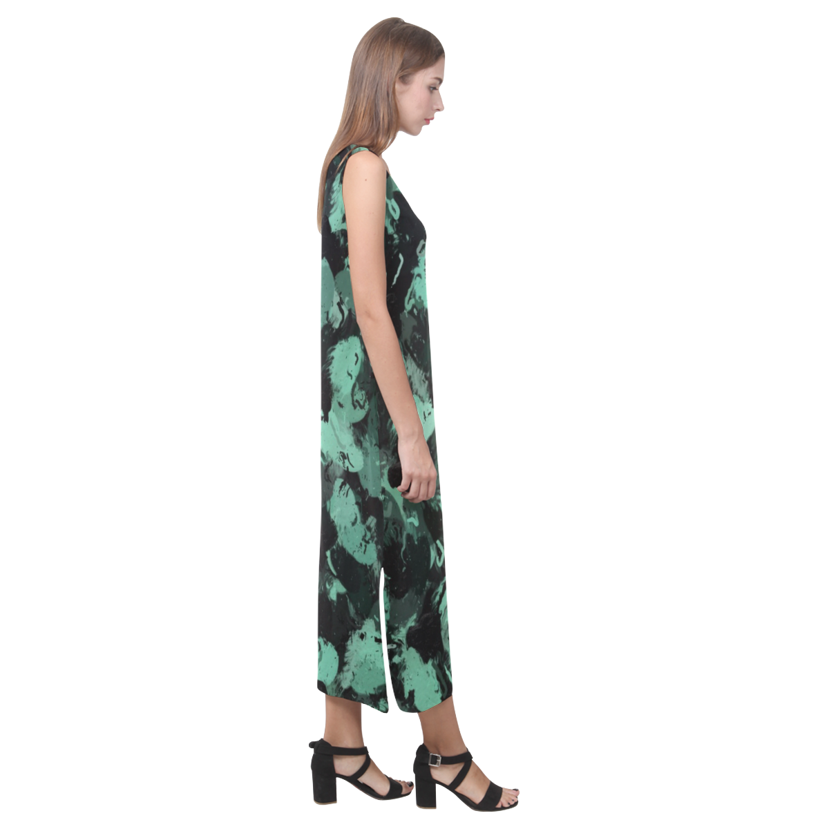 Black and Teal Green Abstract 0244 Phaedra Sleeveless Open Fork Long Dress (Model D08)