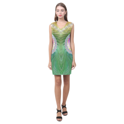 Frax Fractal Rainbow Phoebe Sleeveless V-Neck Dress (Model D09)