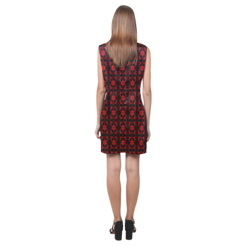 Abstract Flowing * Red on Black Phoebe Sleeveless V-Neck Dress (Model D09)