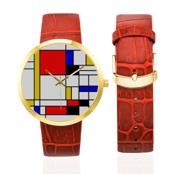 Bauhouse Composition Mondrian Style Women's Golden Leather Strap Watch(Model 212)