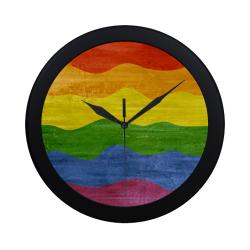 Gay Pride - Rainbow Flag Waves Stripes 3 Circular Plastic Wall clock