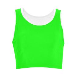 Bright Neon Green / White Women's Crop Top (Model T42)
