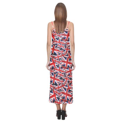 Union Jack British UK Flag V-Neck Open Fork Long Dress(Model D18)