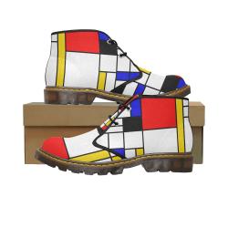 Bauhouse Composition Mondrian Style Women's Canvas Chukka Boots/Large Size (Model 2402-1)