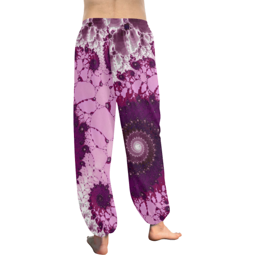 Pink Petals Glass Flower Spiral Women's All Over Print Harem Pants (Model L18)