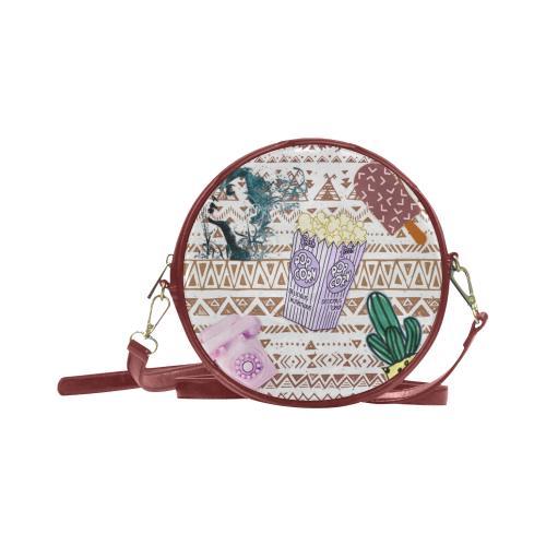 Patched Graphic Round Sling Bag (Model 1647)