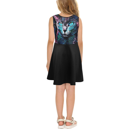 CAT AMERA GIRL SUNDRESS Girls' Sleeveless Sundress (Model D56)
