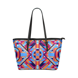 Modern Geometric Pattern Leather Tote Bag/Large (Model 1651)