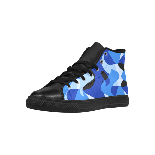 Camouflage Abstract Blue and Black Aquila High Top Microfiber Leather Men's Shoes (Model 027)