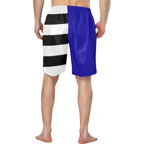 Blue and Stripes Mixed Print Men's Swim Trunk (Model L21)