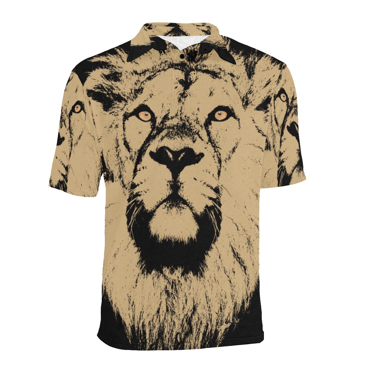 ART LION LUXURY POLO Men's All Over Print Polo Shirt (Model T55)
