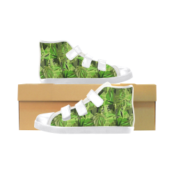 Tropical Jungle Leaves Camouflage Velcro High Top Canvas Kid's Shoes (Model 015)
