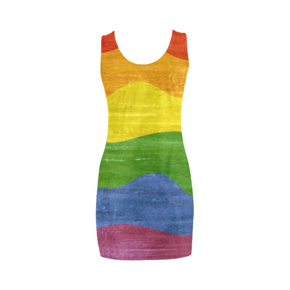 Gay Pride - Rainbow Flag Waves Stripes 3 Medea Vest Dress (Model D06)