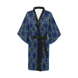 Teal Blue and Green Geometric Kimono Robe