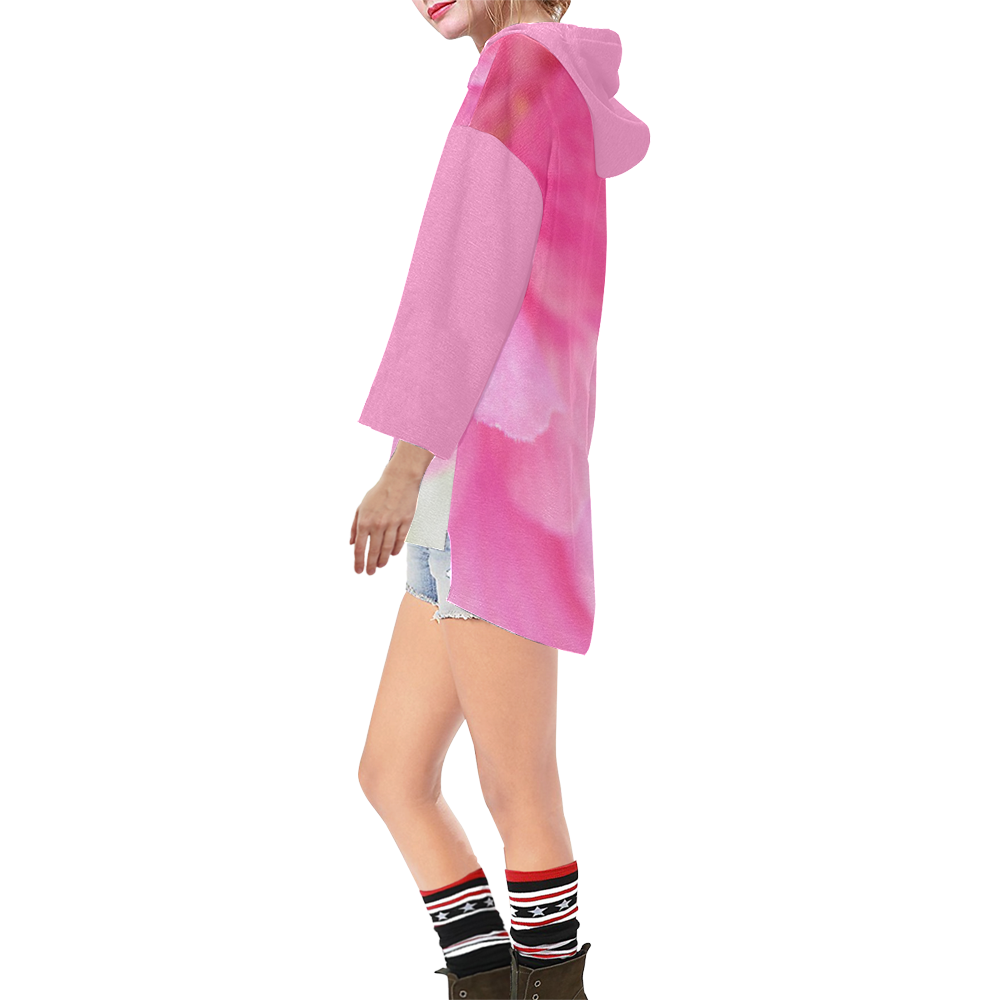 Faded in Pink Step Hem Tunic Hoodie for Women (Model H25)