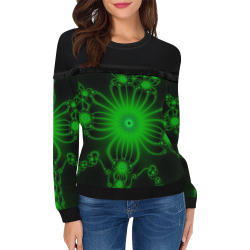 Green Flower Bloom Women's Fringe Detail Sweatshirt (Model H28)