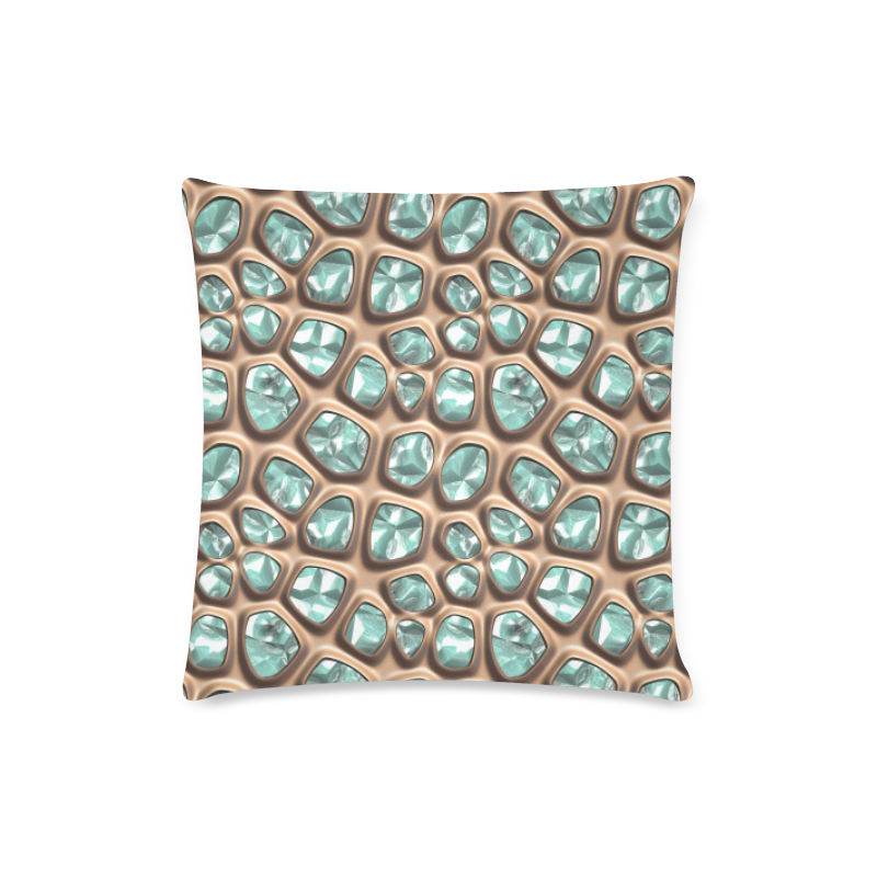"""Green crystals Custom Zippered Pillow Case 16""""x16""""(Twin Sides)"""