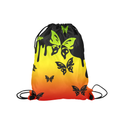 "Rastafari Gradient Green Yellow Red Medium Drawstring Bag Model 1604 (Twin Sides) 13.8""(W) * 18.1""(H)"