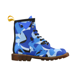 Camouflage Abstract Blue and Black High Grade PU Leather Martin Boots For Women Model 402H