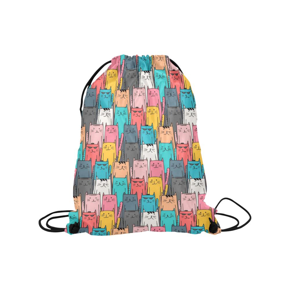 "Cartoon Cat Pattern Medium Drawstring Bag Model 1604 (Twin Sides) 13.8""(W) * 18.1""(H)"