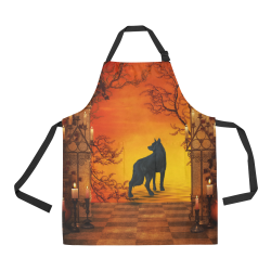 Wonderful black wolf in the night All Over Print Apron