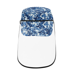 Digital Blue Camouflage Military Style Cap (Detachable Face Shield)