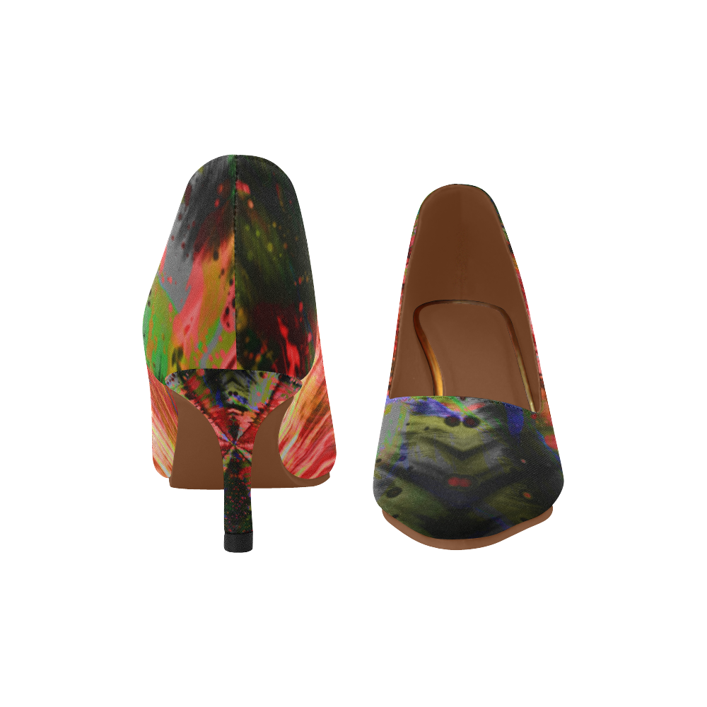 Wild Rainbow Deep Step Crew Women's Pointed Toe Low Heel Pumps (Model 053)