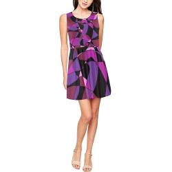 Abstract Design #6 Thea Sleeveless Skater Dress(Model D19)