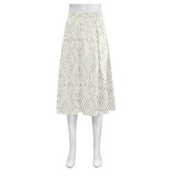 White 3D Geometric Pattern Mnemosyne Women's Crepe Skirt (Model D16)